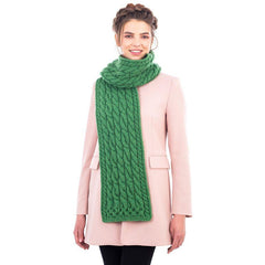 Merino Wool Cable Knit Scarf 69 x 8 Inches Made in Ireland 3 Colors - Olde Church Emporium