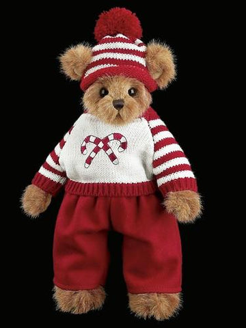 Bearington - Conner Candycane Christmas Holiday Plush Teddy Bear  14 Inches and Retired
