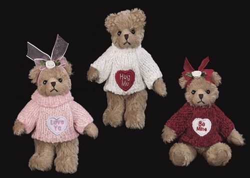 Bearington -Conversation Heartpack Set 3 Valentines Miniature Bears - 5 Inches and Retired - Olde Church Emporium
