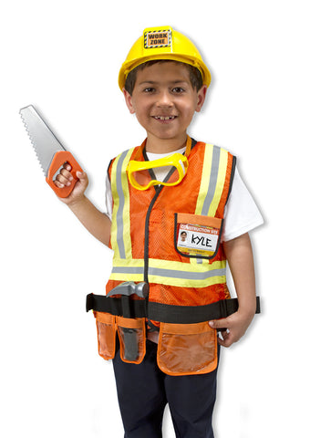 Construction Worker Role Play Costume Set 3 to 6 years old