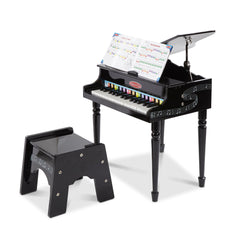 Melissa & Doug Learn-To-Play Classic Grand Piano With 30 Keys, Color-Coded Songbook, and Non-Tip Bench - Olde Church Emporium