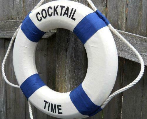"Cocktail Time Life Ring Preserver 17"" Diameter Decorative Nautical Ring"