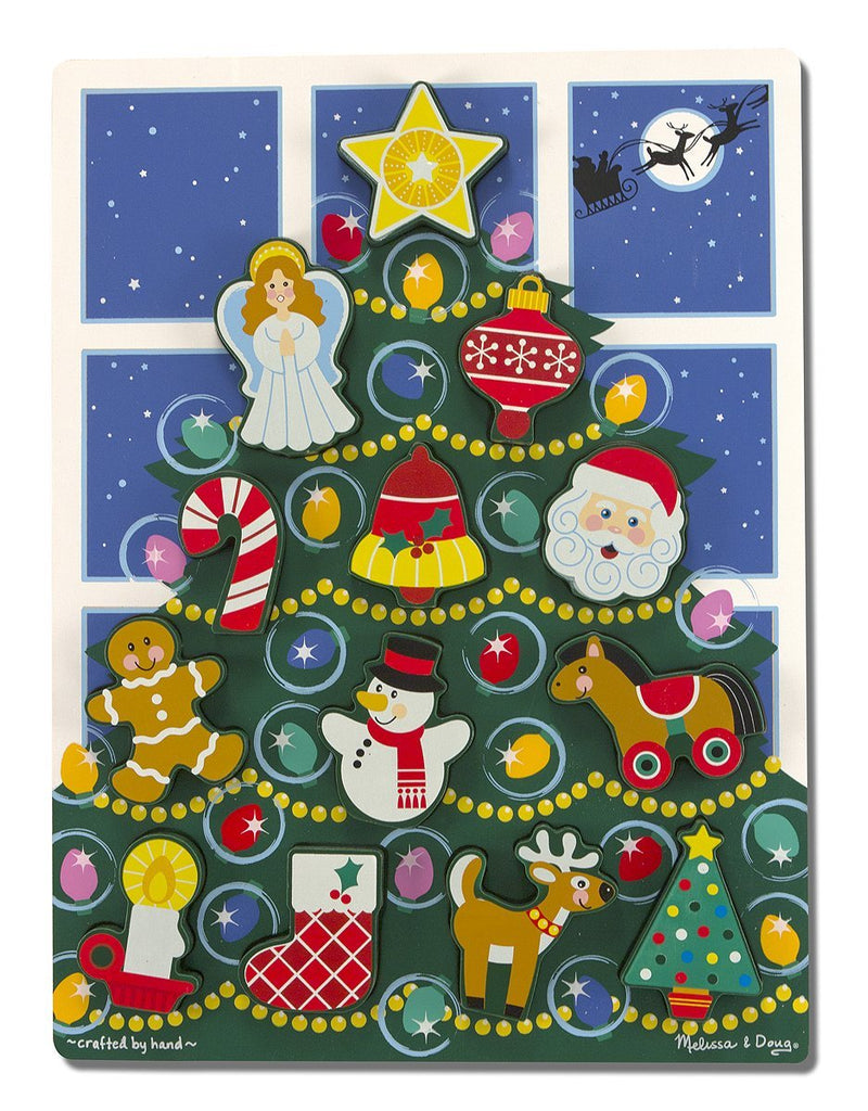 Melissa & Doug Holiday Christmas Tree Wooden Chunky Puzzle (13 pcs) - Olde Church Emporium
