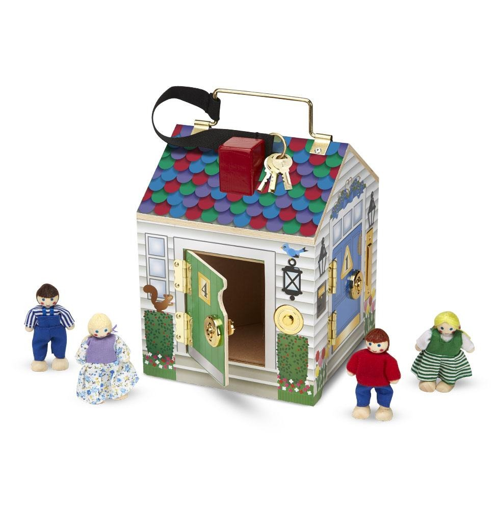 "Melissa & Doug Take-Along Wooden Doorbell Dollhouse (Doorbell Sounds, Keys, 4 Poseable Wooden Dolls, 9"" H x 6.8"" W x 6.8"" L)"