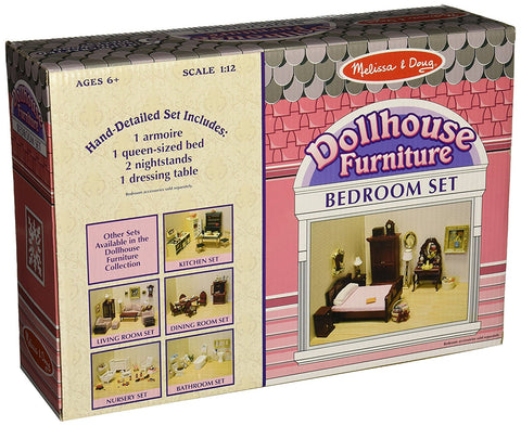 Melissa & Doug-  Classic Victorian Wooden and Upholstered Dollhouse Bedroom Furniture (5 pieces)