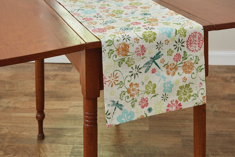 Park Design Dragonfly Floral Table Runner 13 x 72 Inches long  Farmhouse, Country