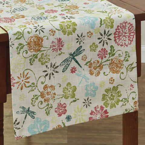 Park Design Dragonfly Floral Table Runner 13 x 54 Inches long  Farmhouse, Country