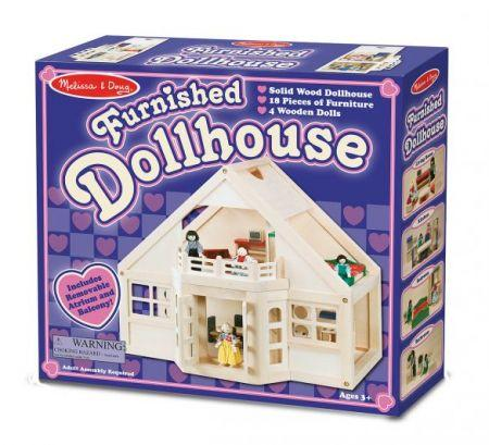Melissa & Doug - Fully Furnished Solid Wood Dollhouse 18 Pieces Furniture 4 Dolls