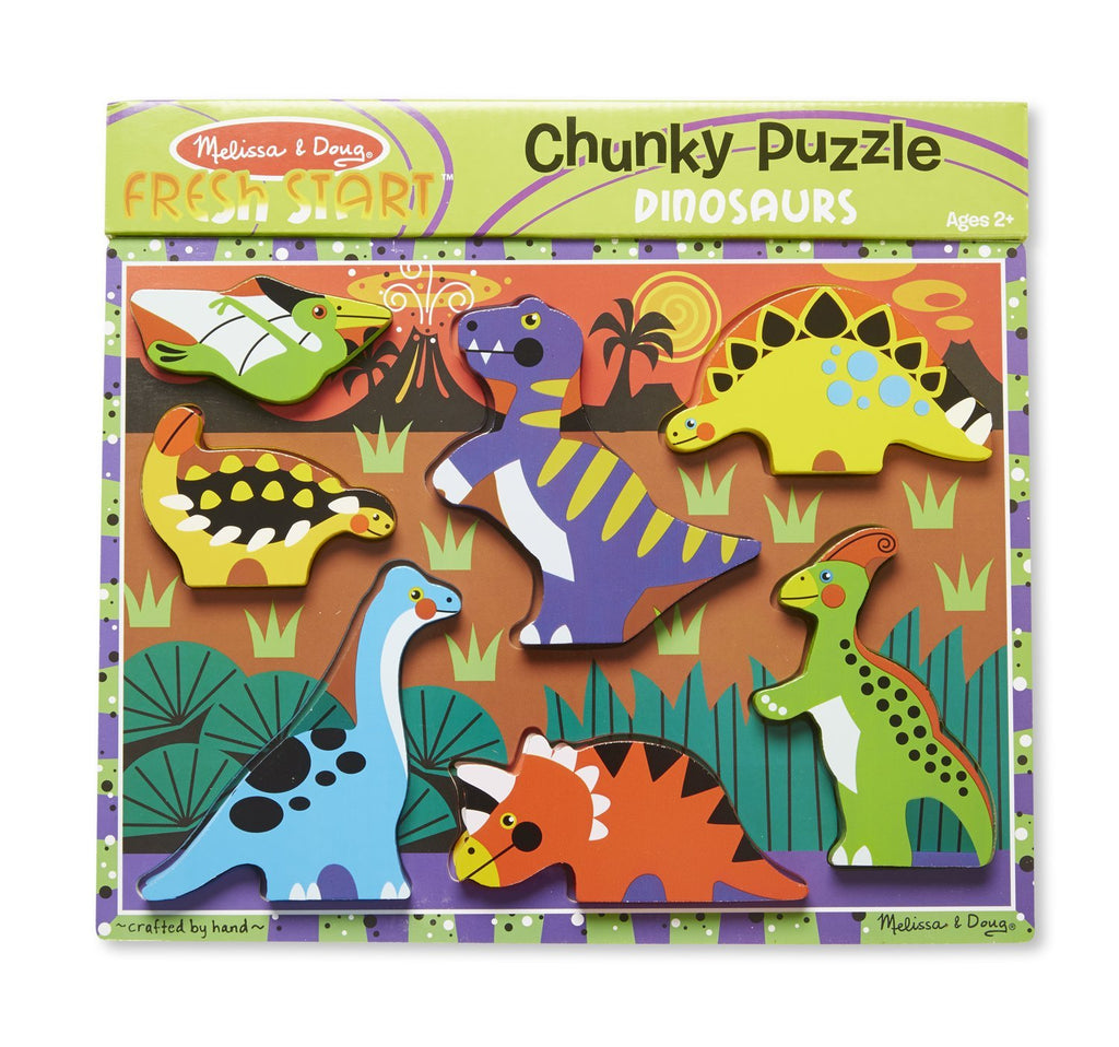 Melissa & Doug  - Dinosaur Chunky Puzzle 7 pieces [Home Decor]- Olde Church Emporium