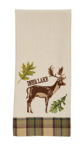 Park Design Sequoia Embroidered Decorative Deer Dishtowel 18 x 28 Inches Farmhouse, Country