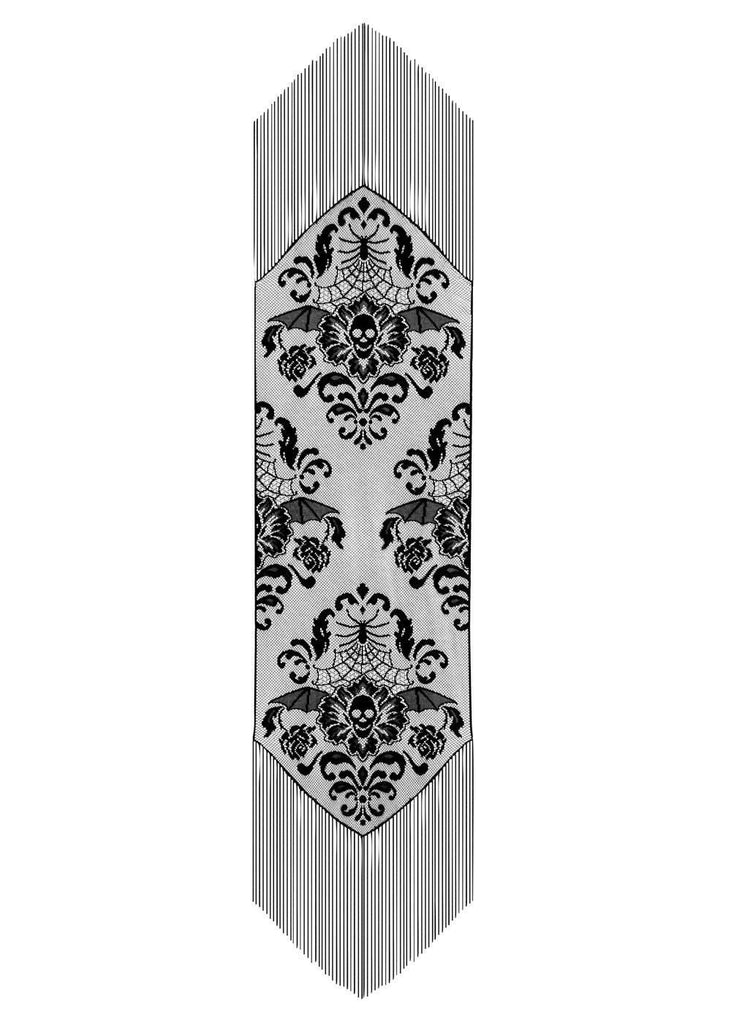 Heritage Halloween Damask Runner 15 x 68 Inches Sizes Black
