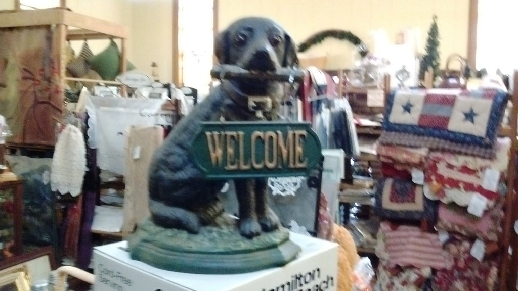 Cast Iron Door Stop - Labrador Dog with Welcome Sign Large Decorative Cute Cast Iron
