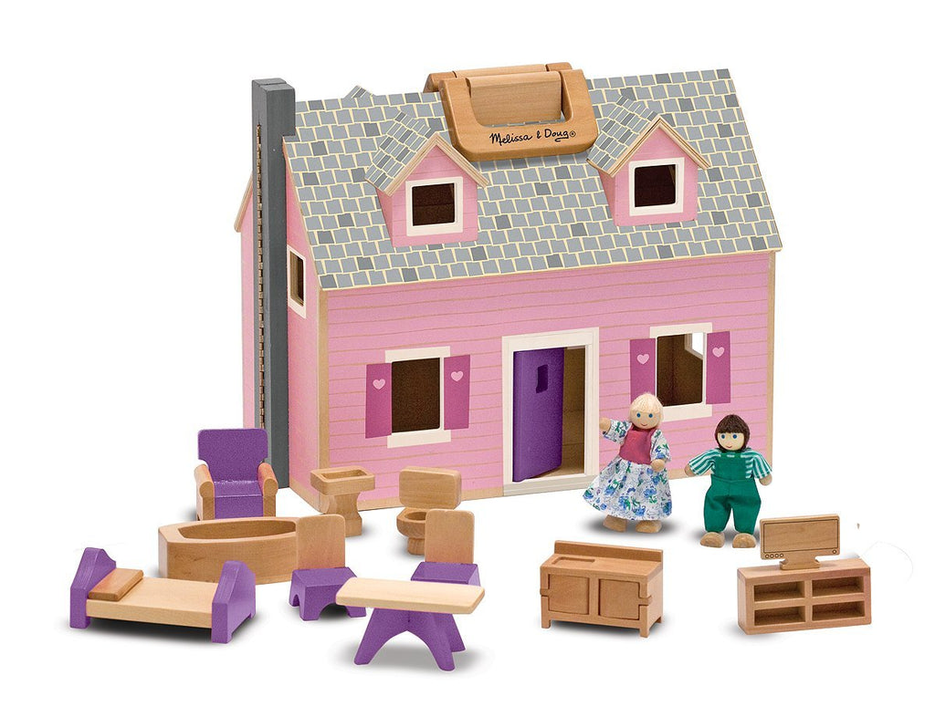 Melissa & Doug Fold and Go Wooden Dollhouse With 2 Dolls and Wooden Furniture - Olde Church Emporium
