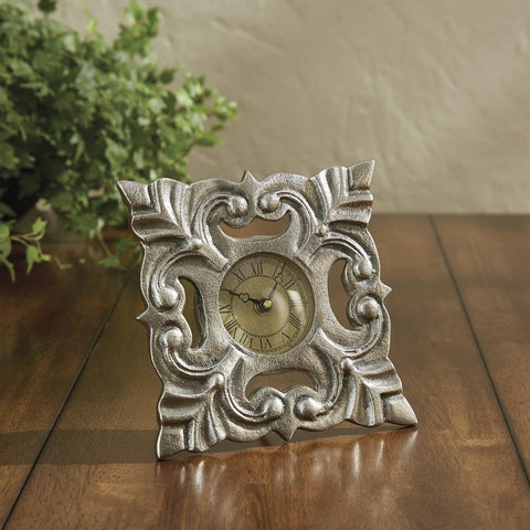 Park Designs Embossed Medallion Table Clock 7H x 7.25W x 3D Inches