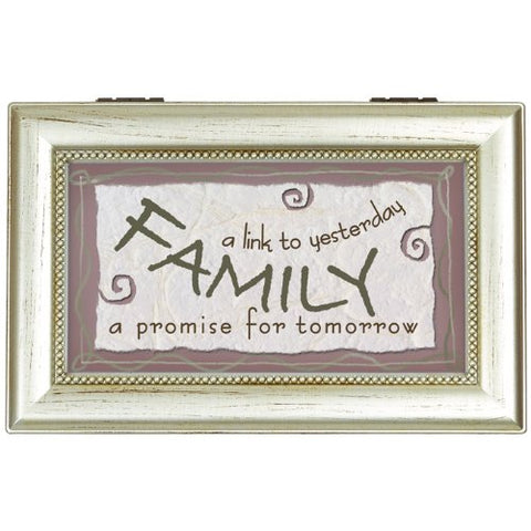 Family Wooden Decorative Rectangle Music Box 6 x 4 x 2.5 Inches Free Shipping