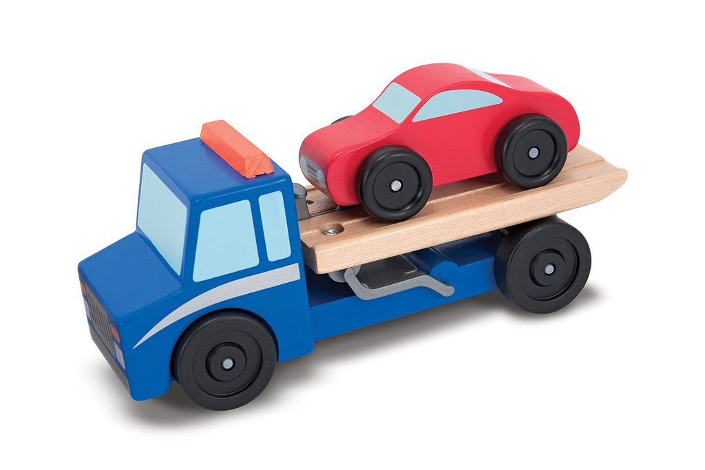 Melissa & Doug - Flatbed Tow Truck Wooden Vehicle Set - Olde Church Emporium