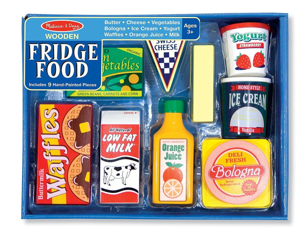 Melissa & Doug - Fridge Food Wooden Play Food Set (9 pieces) - Olde Church Emporium