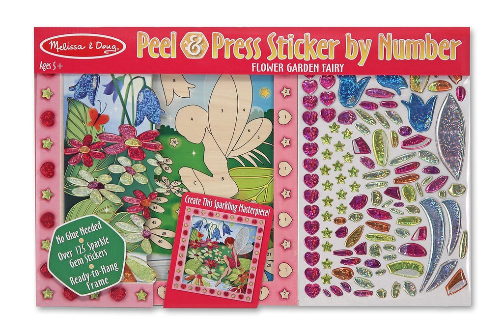 Melissa & Doug - Peel and Press Sticker by Number Activity Kit: Flower Garden Fairy [Home Decor]- Olde Church Emporium
