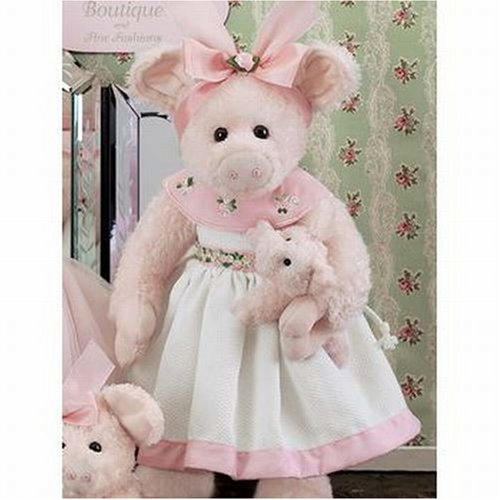 Bearington -Fanny Hampton Piggie 14 Inch Plush Bear Retired - Olde Church Emporium