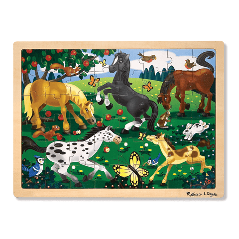 Melissa & Doug 48-pc. Frolicking Horses Wooden Jigsaw Puzzle Ages 4+