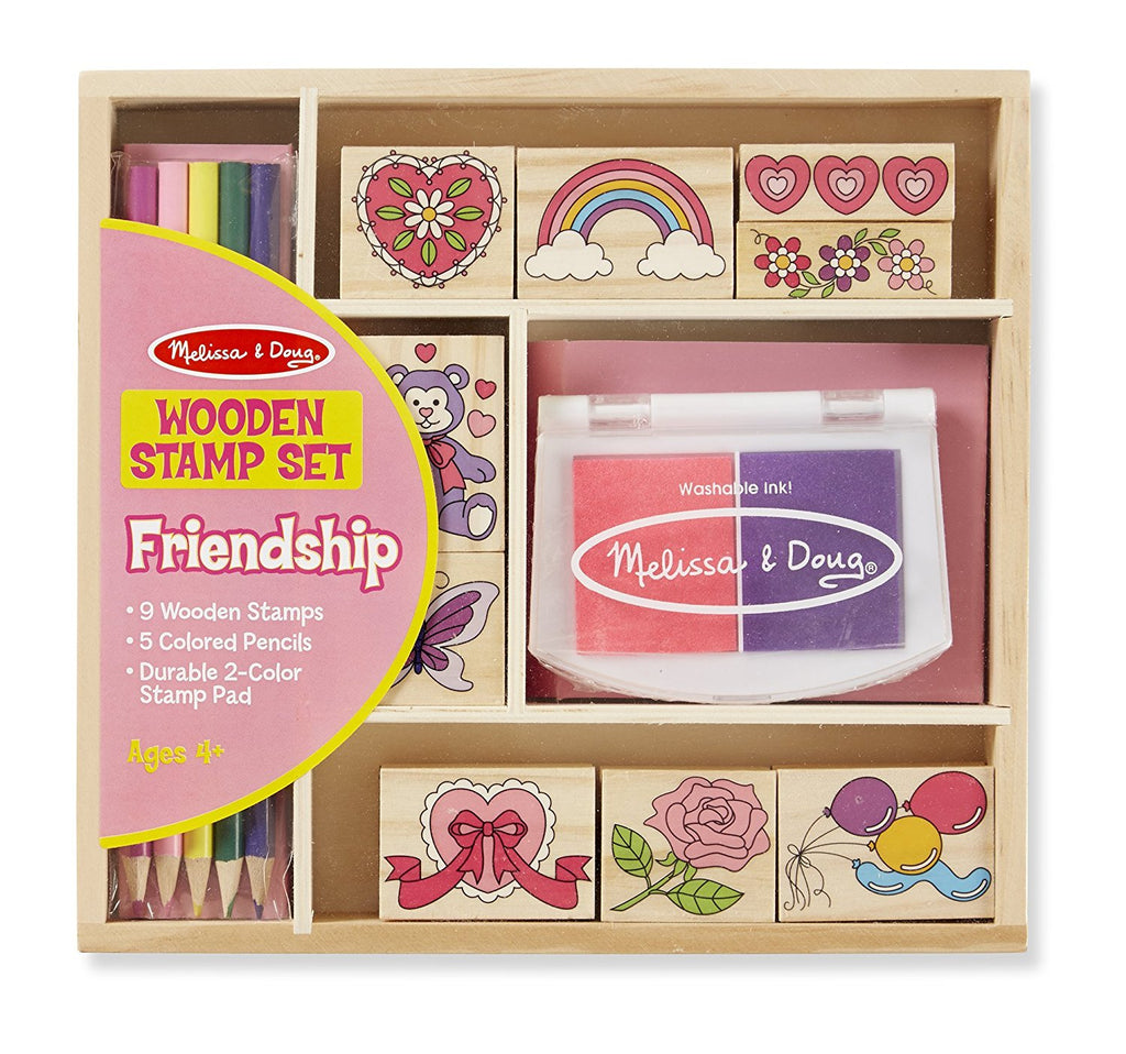Melissa & Doug - Wooden Stamp Set: Friendship - 9 Stamps, 5 Colored Pencils, and 2-Color Stamp Pad [Home Decor]- Olde Church Emporium