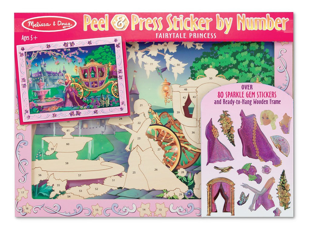 Melissa & Doug- Peel and Press Sticker by Number Activity Kit: Fairytale Princess - 80+ Stickers, Frame [Home Decor]- Olde Church Emporium