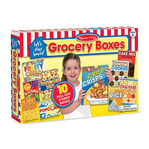 Melissa & Doug - Let's Play House! Grocery Boxes Play Food Kitchen Accessory - 10 Realistic, Full-Size, Easy to Assemble Food Boxes [Home Decor]- Olde Church Emporium