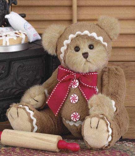 Bearington Gingerbeary Holiday Plush Stuffed Animal Teddy Bear in Gingerbread Man Suit, 10 inches - Olde Church Emporium