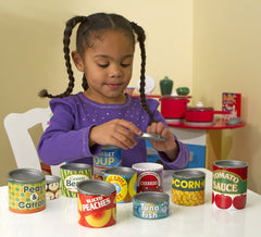 Melissa & Doug - Let's Play House! Grocery Cans Play Food Kitchen Accessory - 10 Stackable Cans With Removable Lids [Home Decor]- Olde Church Emporium