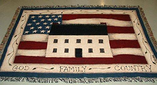 God Family Country Americana Flag Tapestry Afghan Throw 68 x 51 inches  Made in USA