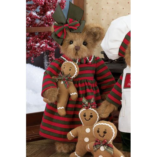 Bearington - Ginger and Gingerbread Christmas Plush Bear 14 Inches and Retired - Olde Church Emporium