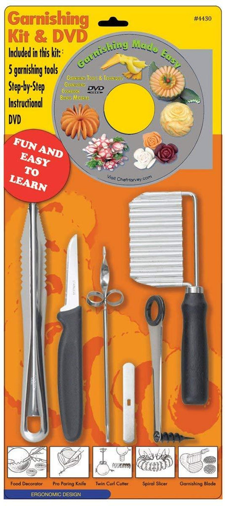 Chef Harvey Garnishing Kit, DVD and Five Tools - Olde Church Emporium