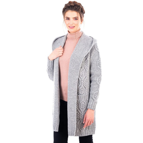 Ladies Classic Fit Long Cardigan with Hood Navy or Grey Made in Ireland