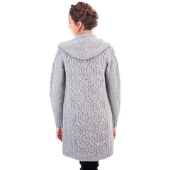 Ladies Classic Fit Long Cardigan with Hood Navy or Grey Made in Ireland - Olde Church Emporium
