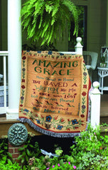 Manual 51 x 68-Inches Tapestry Throw with Fringe, Amazing Grace Made in USA - Olde Church Emporium