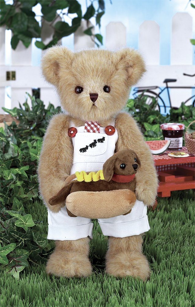 "Bearington - Spring Collectible Bear ""Harvey & Hot Doggie"" - 14 Inches - Olde Church Emporium"