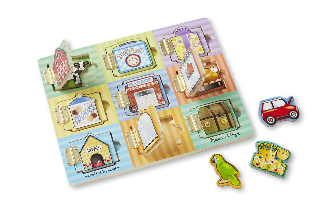 Melissa & Doug Hide and Seek Wooden Activity Board With Wooden Magnets - Olde Church Emporium