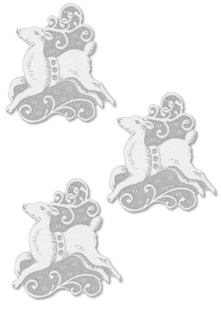 Window Accents - Set of 3 Christmas Deer with suction cups White Made in USA - Olde Church Emporium