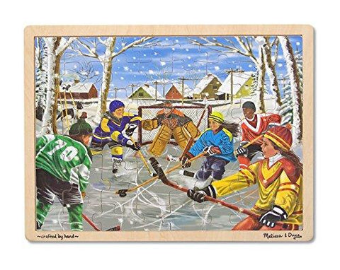 Melissa & Doug Wooden Hockey Jigsaw Puzzle 48 Pieces Ages 4+