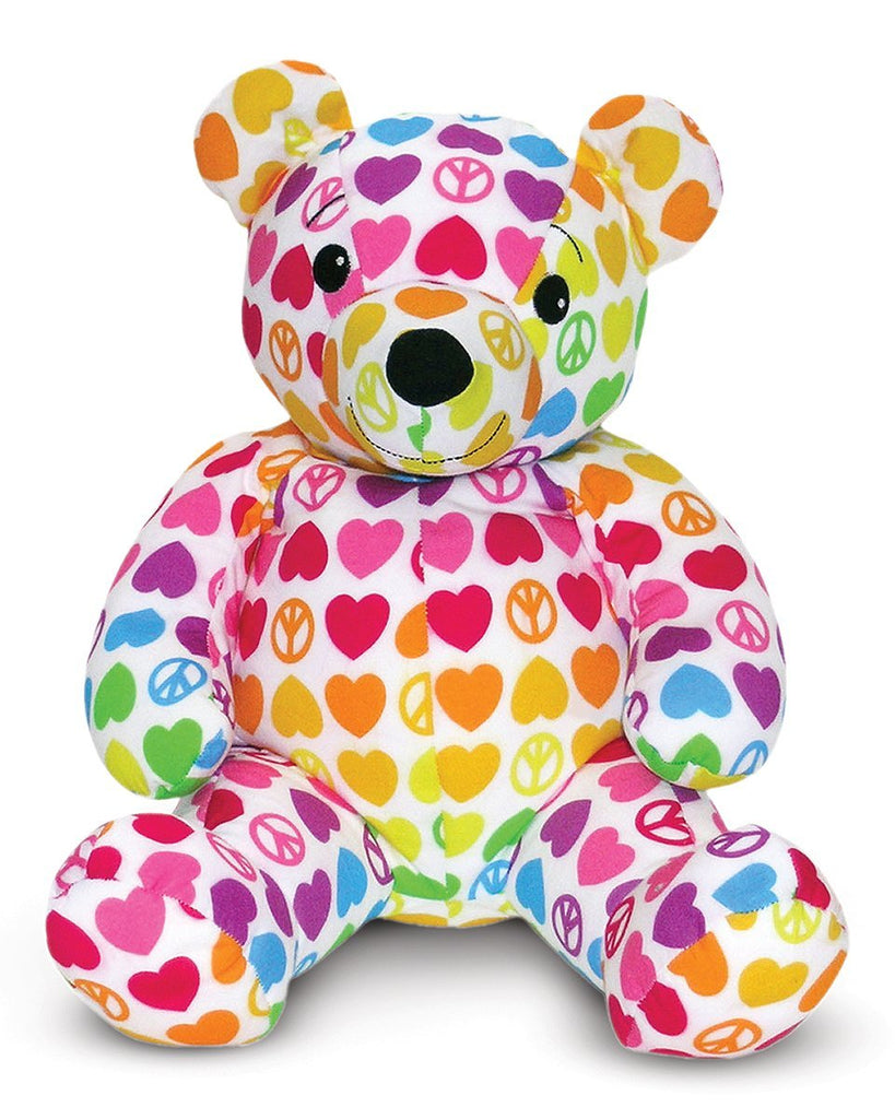 Melissa and Doug - BeePosh Collection Hope Bear Rainbow Colors Peace and Love 7 Inch Bear [Home Decor]- Olde Church Emporium