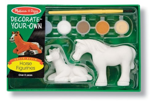 Melissa & Doug - Decorate-Your-Own Horse Figurines (DYO) 2 Solid-Resin Figurines to Paint [Home Decor]- Olde Church Emporium