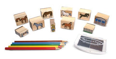 Melissa & Doug Wooden Stamp Activity Set: Horse Stable - 10 Stamps, 5 Colored Pencils, 2-Color Stamp Pad [Home Decor]- Olde Church Emporium