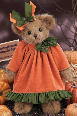 "Bearington - Autumn Fall Holiday  ""Ima Pumpkin"" Pumpkin Bear - 14 Inches and Retired"