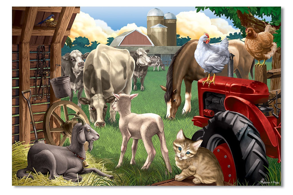 Melissa and Doug - In The Barnyard Cardboard Jigsaw Puzzle (100 pieces) Ages 6+ [Home Decor]- Olde Church Emporium