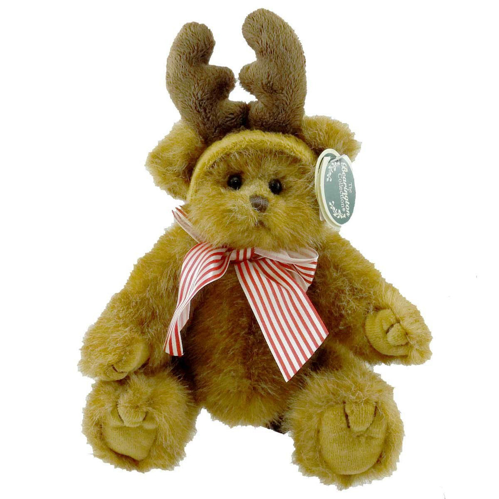 Bearington -Izzy A. Reindeer - 10 Inch Christmas Bear with Reindeer Antlers - Olde Church Emporium