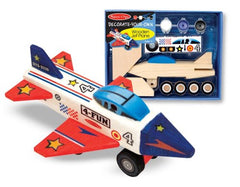 Melissa & Doug - Decorate-Your-Own Wooden Jet Plane Craft Kit [Home Decor]- Olde Church Emporium