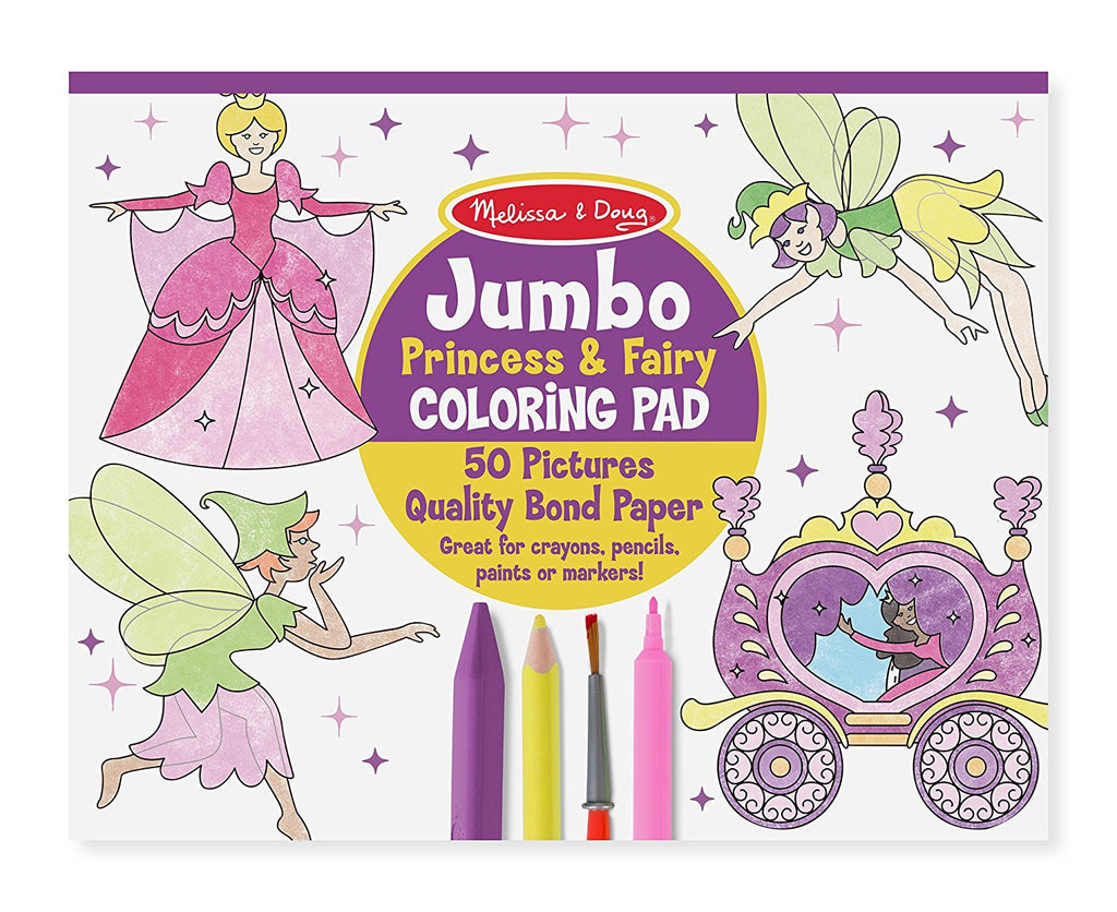 Melissa & Doug - Princess & Fairy Jumbo Coloring Pad [Home Decor]- Olde Church Emporium