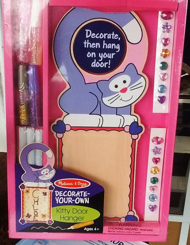 Melissa & Doug - Wooden Decorate Your Own Kitty Door Hanger Markers, Gems, Glitter Glue Ages 4+