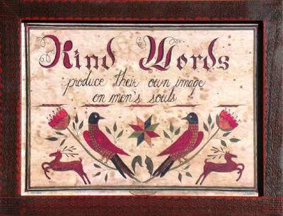 Fractur - Kind Words, American Folk Art, Collectible, Affordable Art [Home Decor]- Olde Church Emporium