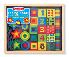 Melissa & Doug - Deluxe Wooden Lacing Beads - Educational Activity With 27 Beads and 2 Laces - Olde Church Emporium